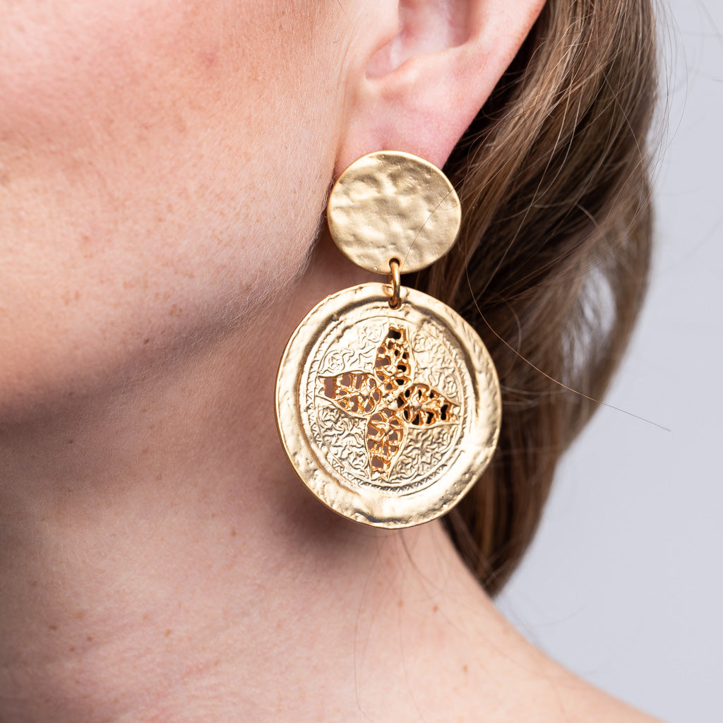 Satin Gold Carved Coin Drop Pierced Earrings