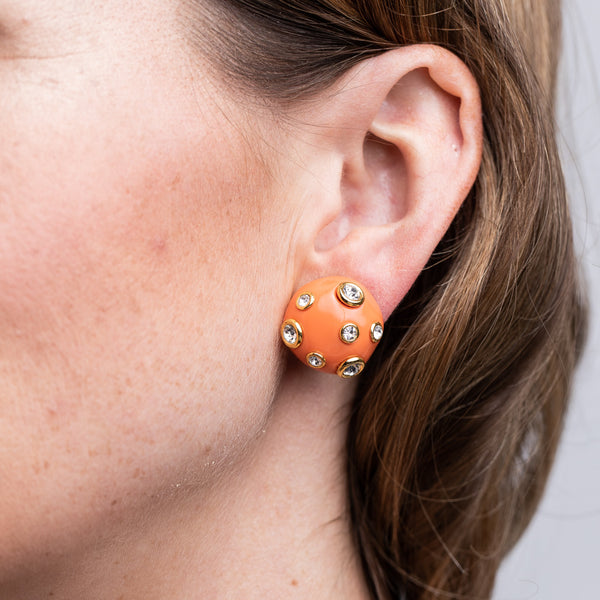 Coral Domed Gold Clip Earrings with Crystals