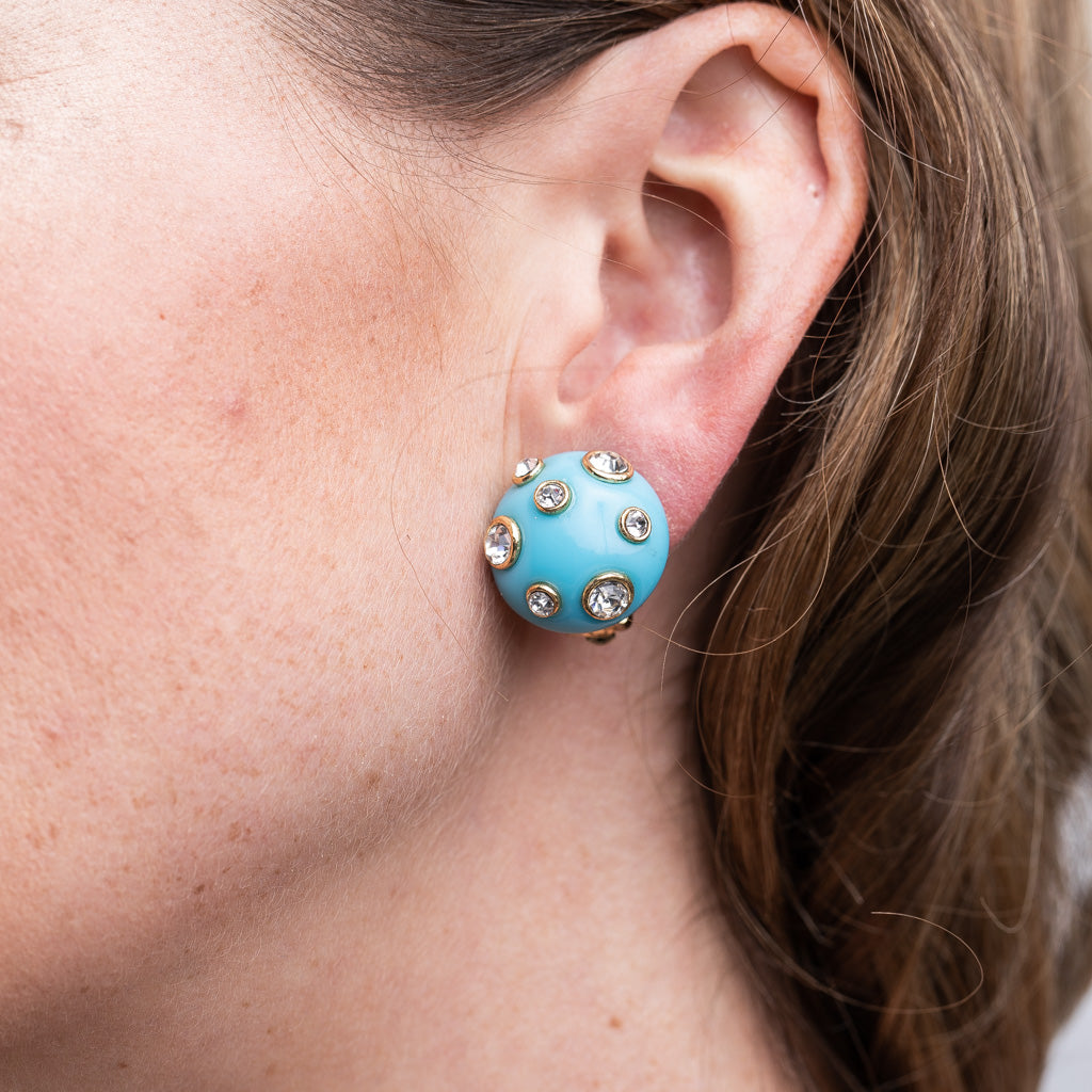 Turquoise Domed Gold Clip Earrings with Crystals