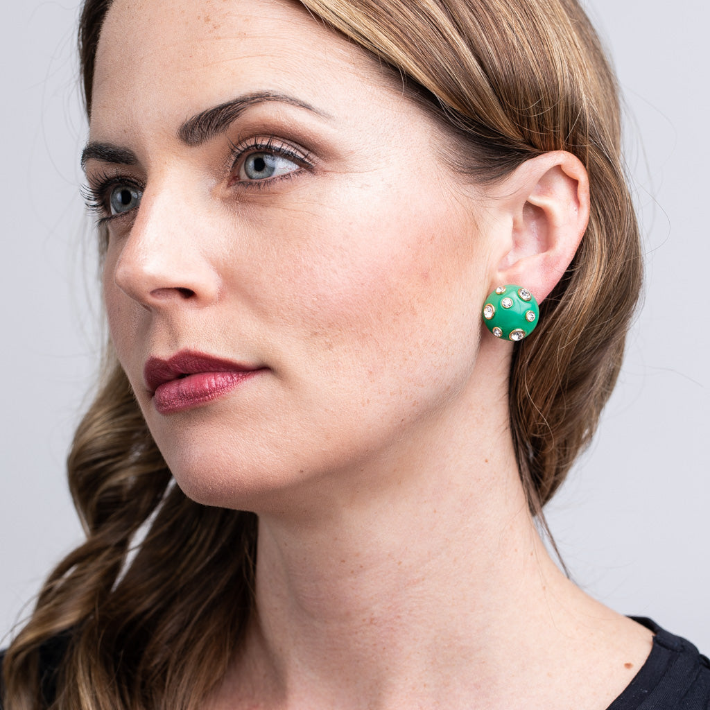 Jade Domed Gold Clip Earrings with Crystals