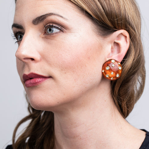 Tortoise Domed Gold Clip Earrings with Crystals