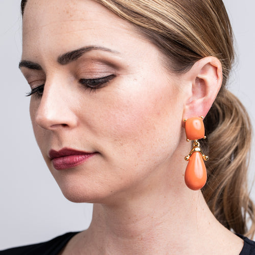 Coral Square Top Drop Clip Earrings