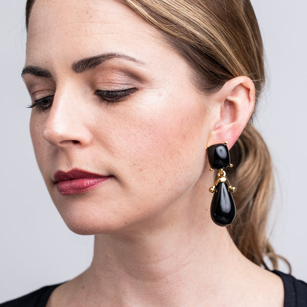 Black Square Top Drop Clip Earrings