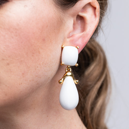 White Square Top Drop Clip Earrings