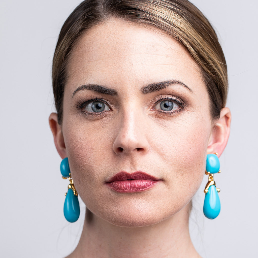 Turquoise Square Top Drop Clip Earrings