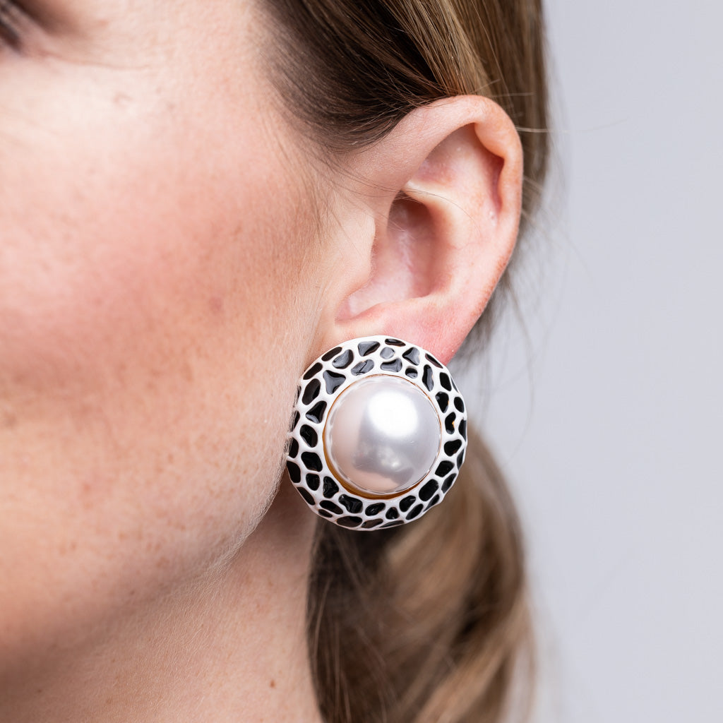 White with Black Spots Cultura Pearl Center Button Clip Earrings
