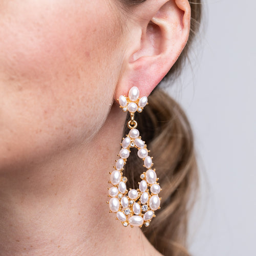 White Pearl Cabochon Teardrop Pierced Earrings