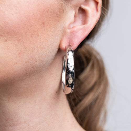 Satin Silver Tapered Hoop Pierced Earrings