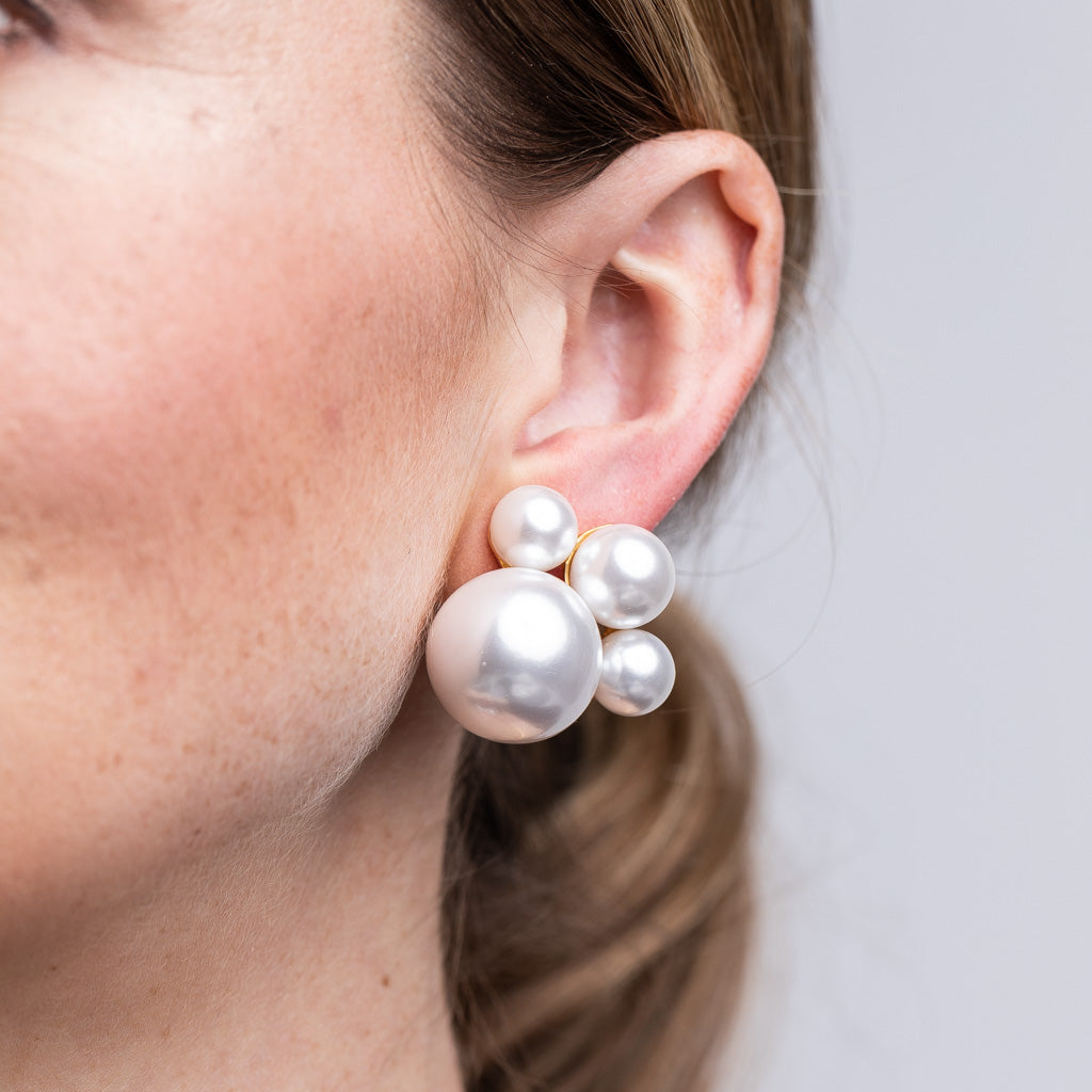Pearl Cluster Clip Earring