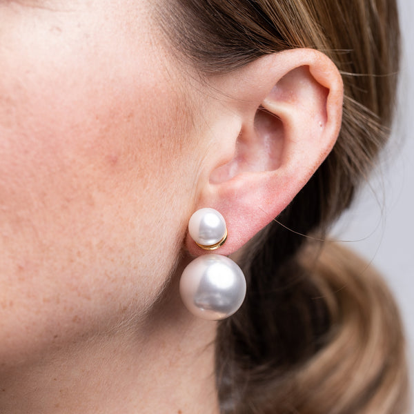 Polished Gold White Pearl Front and Back Pierced Earrings