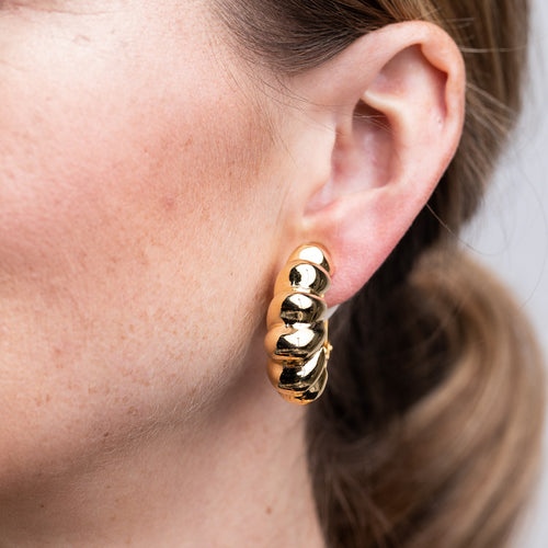 Polished Gold Twist Clip Hoop Earrings
