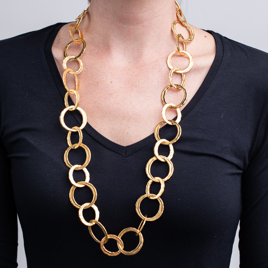 Satin Gold Circle Link Necklace