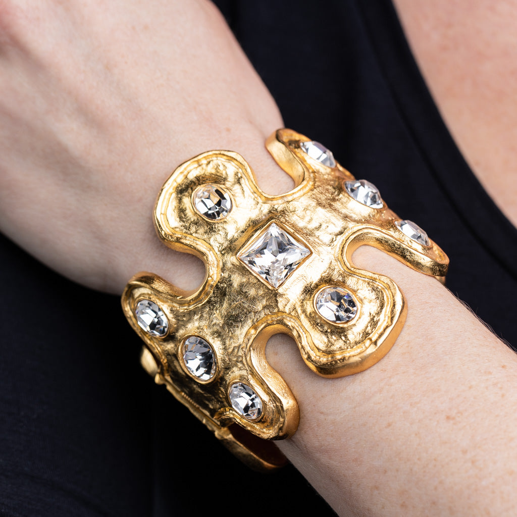 Gold And Crystal Cuff