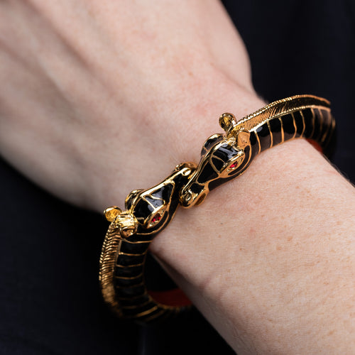 Polished Gold and Black Zebra Head Bracelet