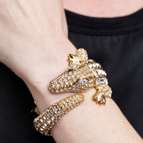 Gold and Crystal Alligator Bracelet