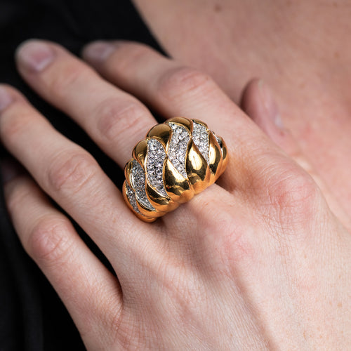 Gold and Rhinestone Wave Dome Ring
