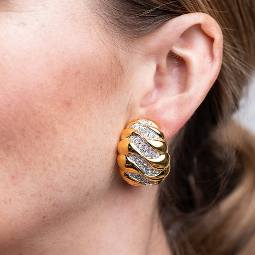 Gold and Rhinestone Wave Dome Clip Earrings