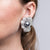 Grey Pearl Center Flower Clip Earrings