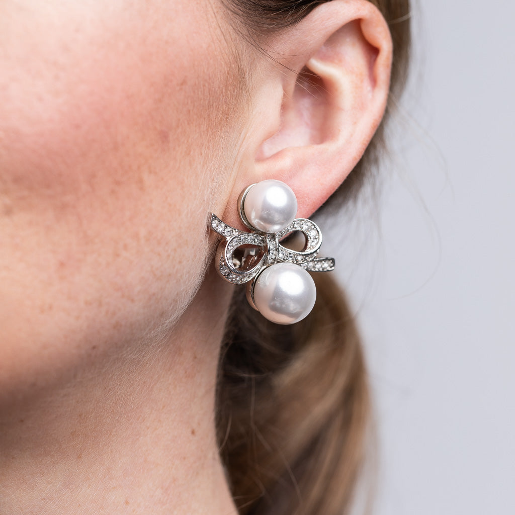 Silver and Crystal Double Pearl Bow Clip Earrings