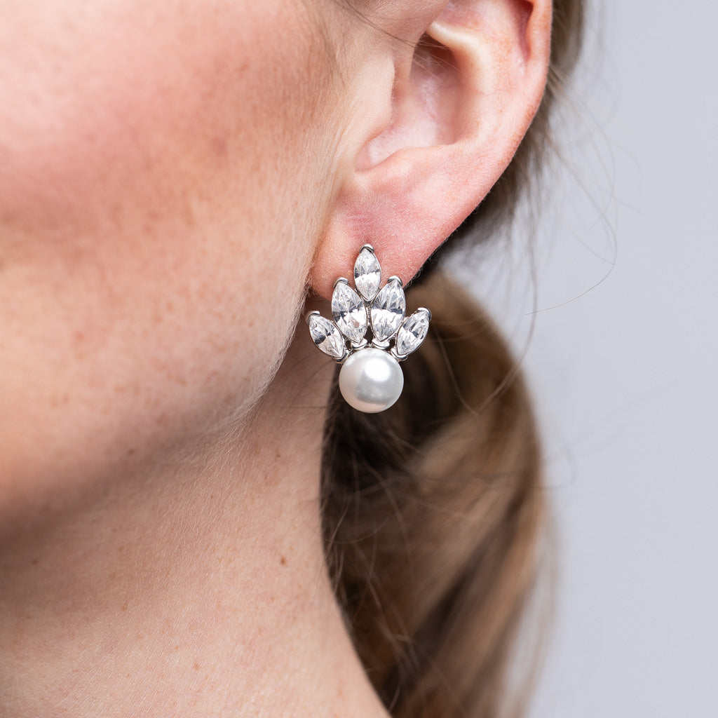 Silver and Crystal White Pearl Fan Pierced Earrings