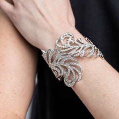 Crystal Hinged Feather Cuff