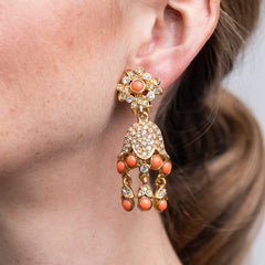 Gold And Coral Drop Clip Earrings