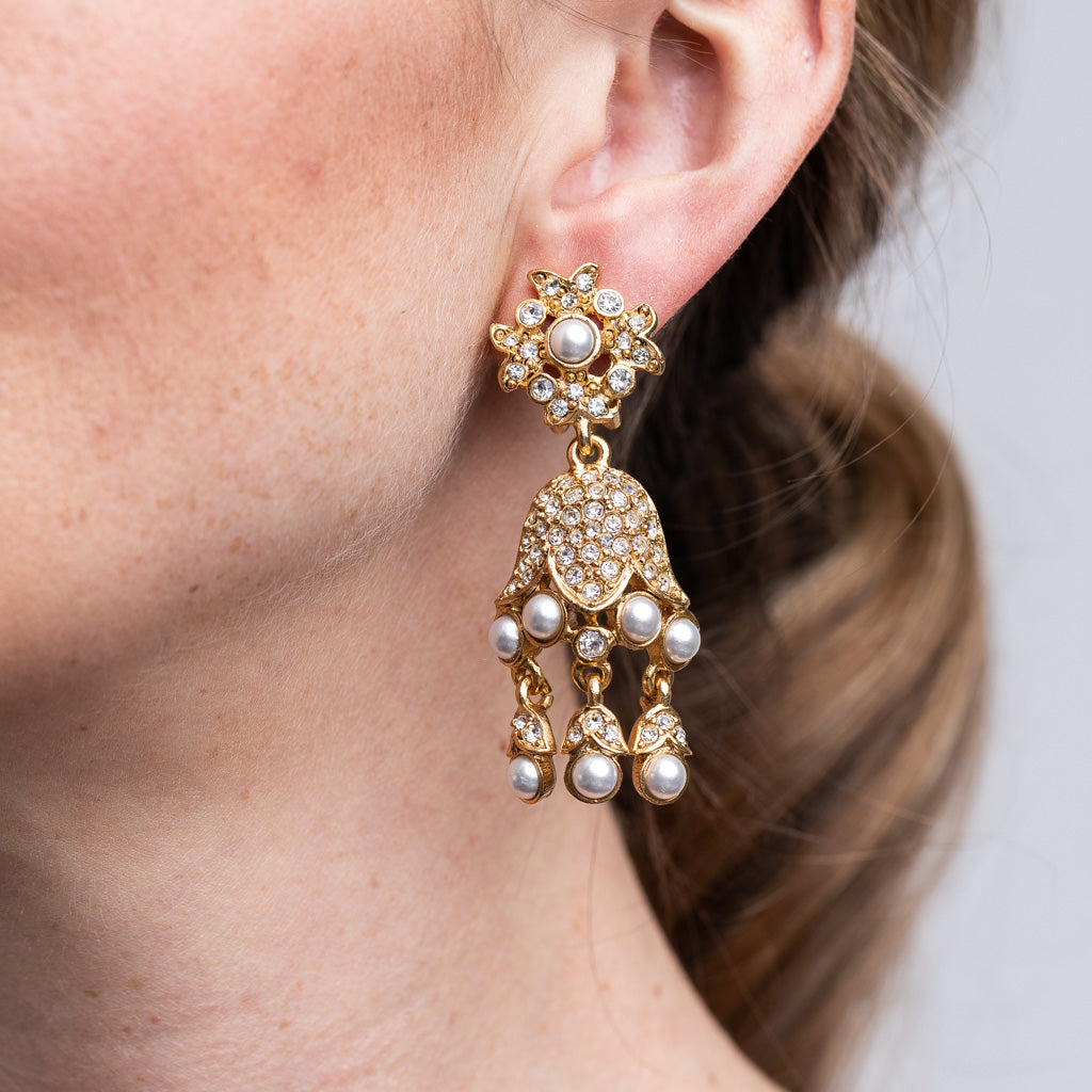 Gold And Pearl Drop Clip Earrings
