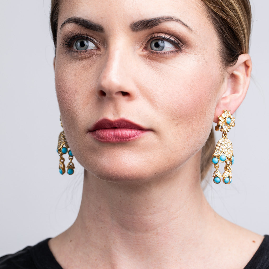 Gold And Turquoise Drop Clip Earrings