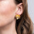 Gold with Crystals Flower Pierced Earrings