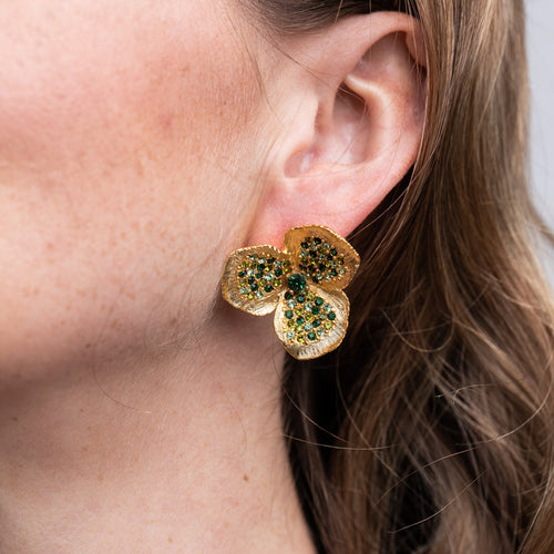 Green Rhinestone Flower Pierced Earrings