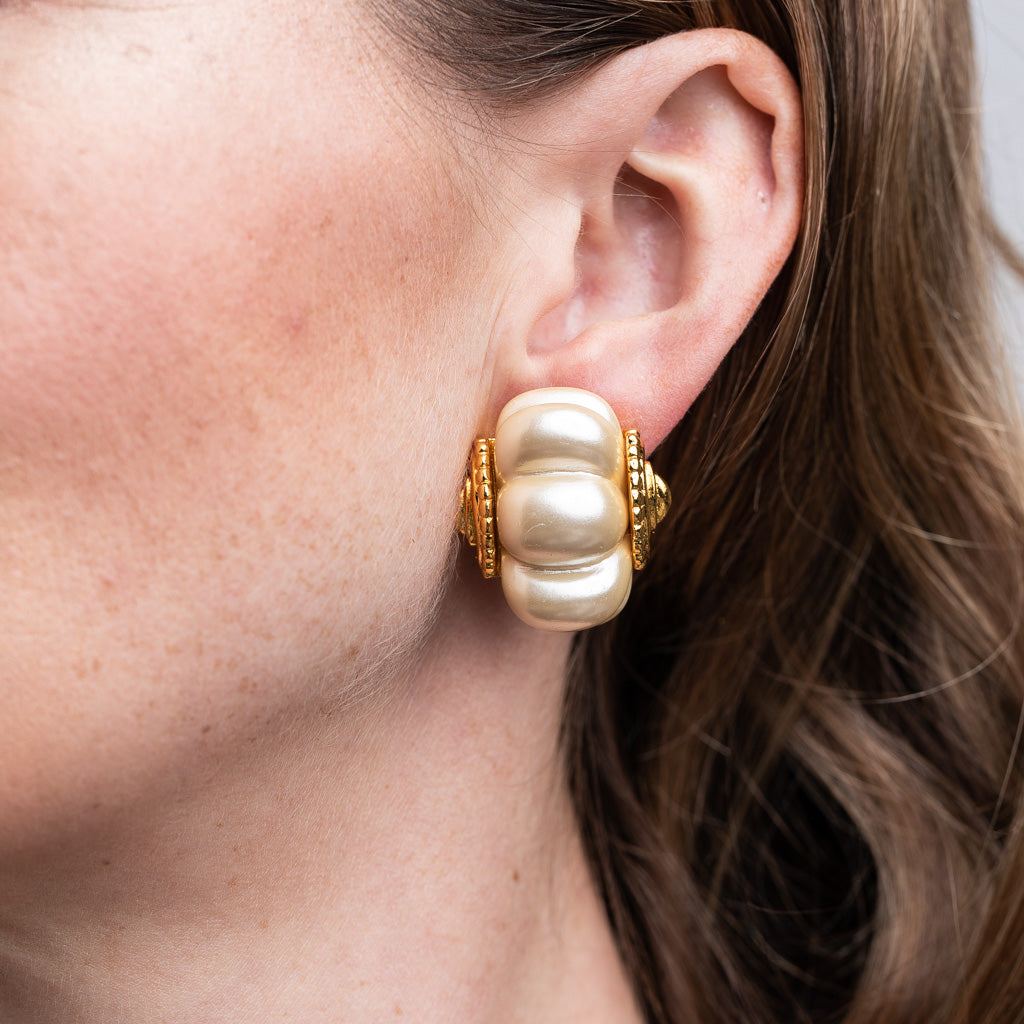 Cultura Pearl Shrimp Clip Earrings