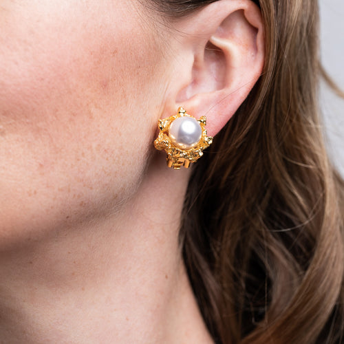 Satin Gold Textured Button Clip Earrings with White Pearl Center
