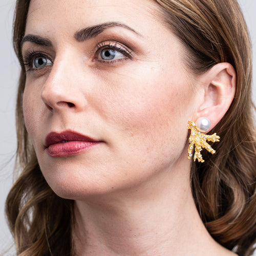 Satin Gold Branch with Crystal Dots and White Pearl Top Clip Earrings