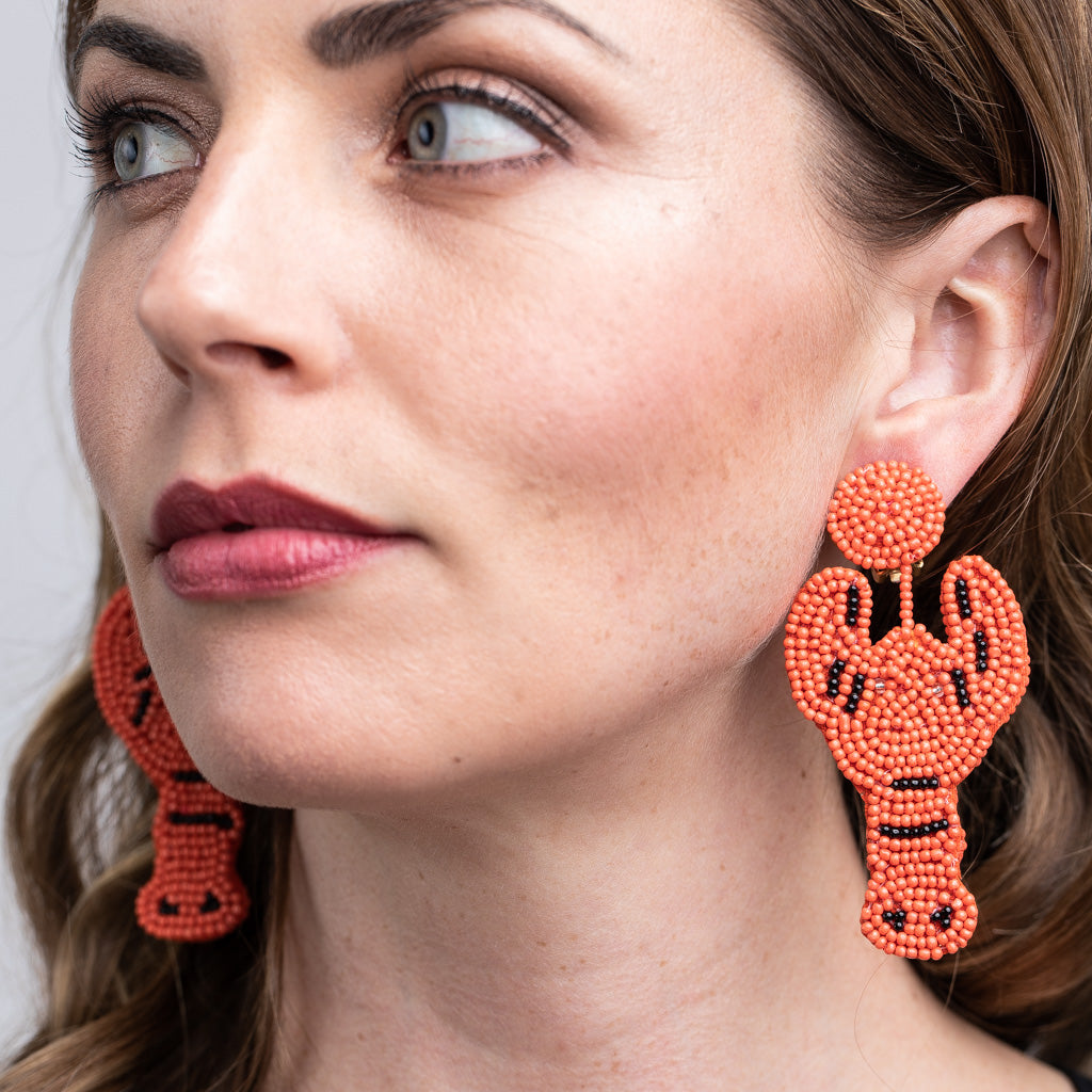 Coral Lobster Seed Bead Clip Earrings