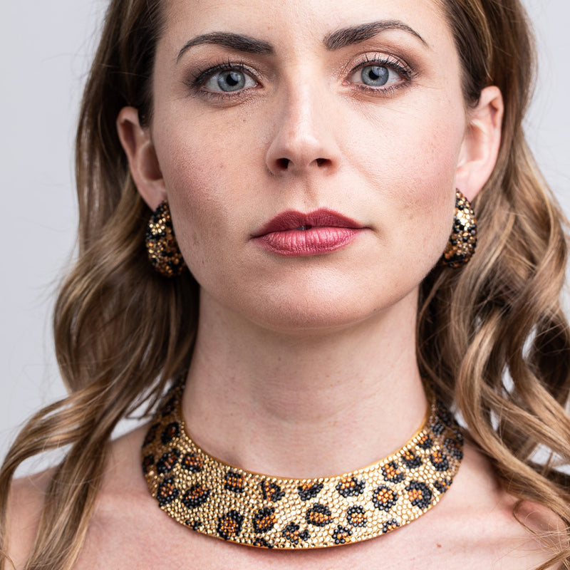 Jet & Topaz Pave Collar Necklace