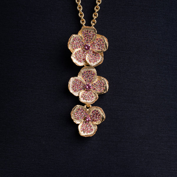 Multi Pink Flower Necklace