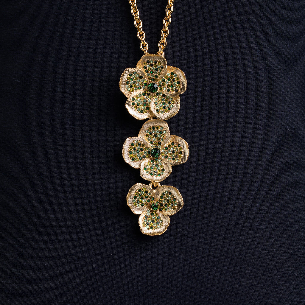 Multi Green Flower Necklace