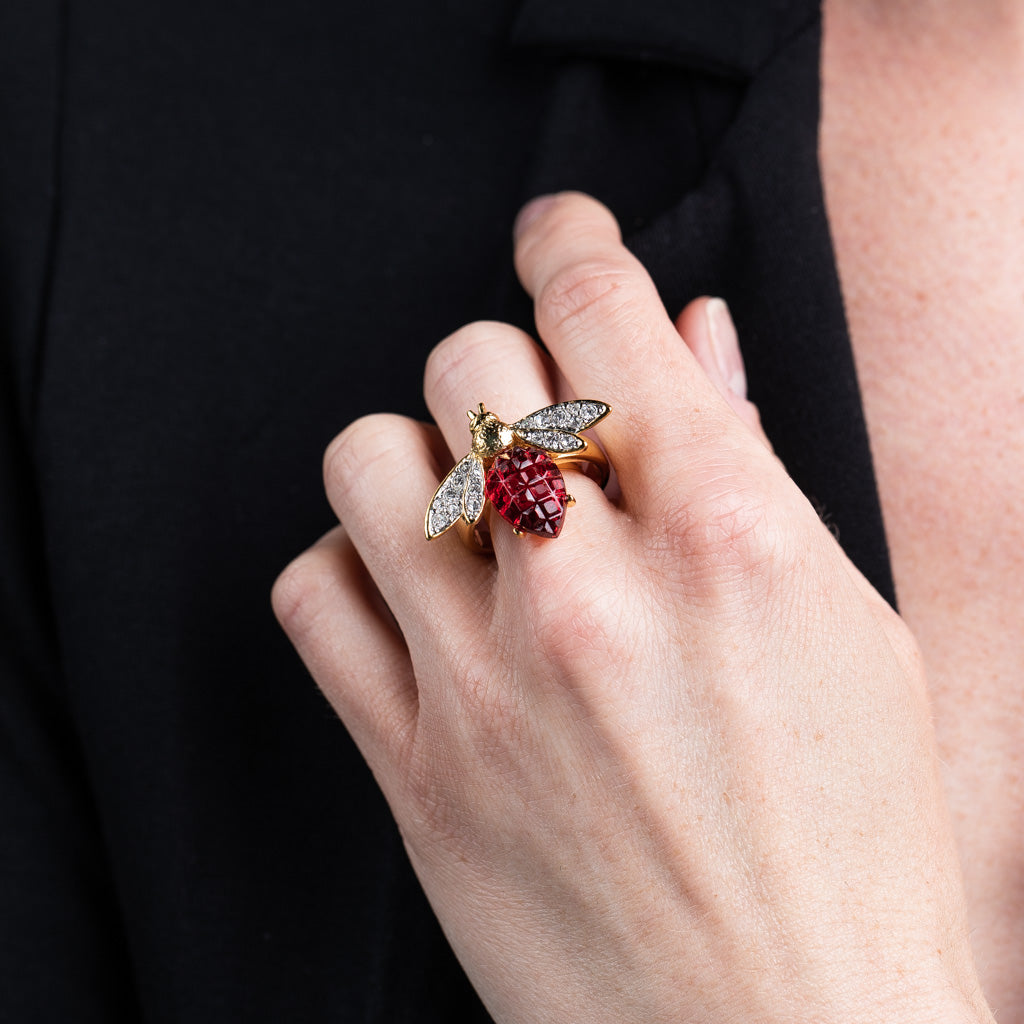 Gold and Crystal Bee Ring with Ruby Body