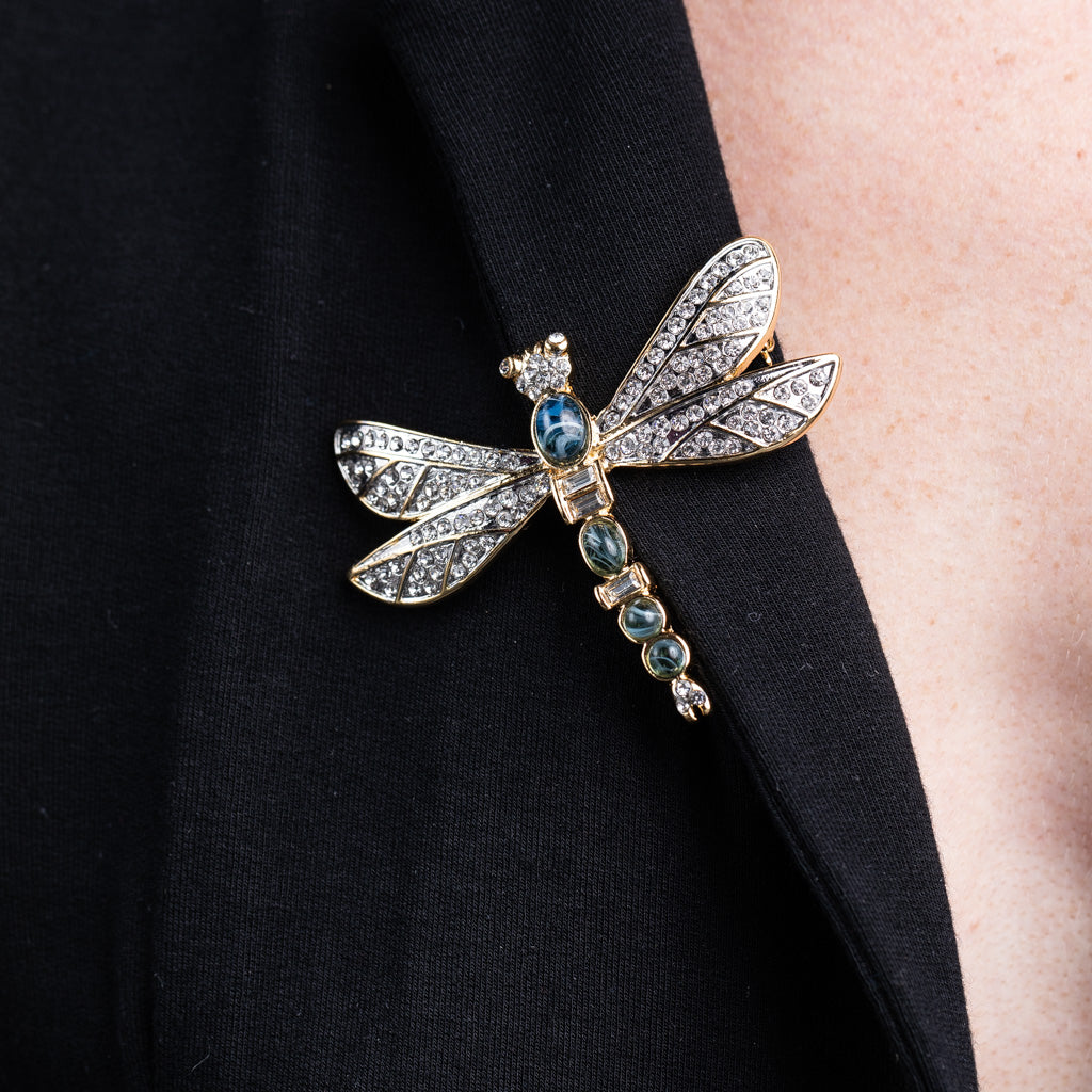 Gold and Rhinestone Sapphire Dragonfly Pin