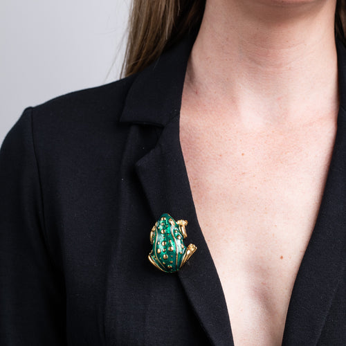 Transparent Green Frog Pin