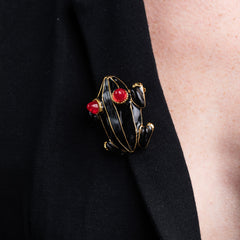 Black Enamel Frog Pin with Ruby Eyes