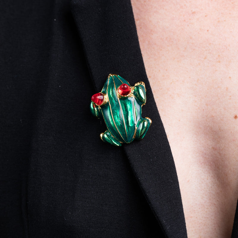 Transparent Green Enamel Frog Pin with Ruby Eyes