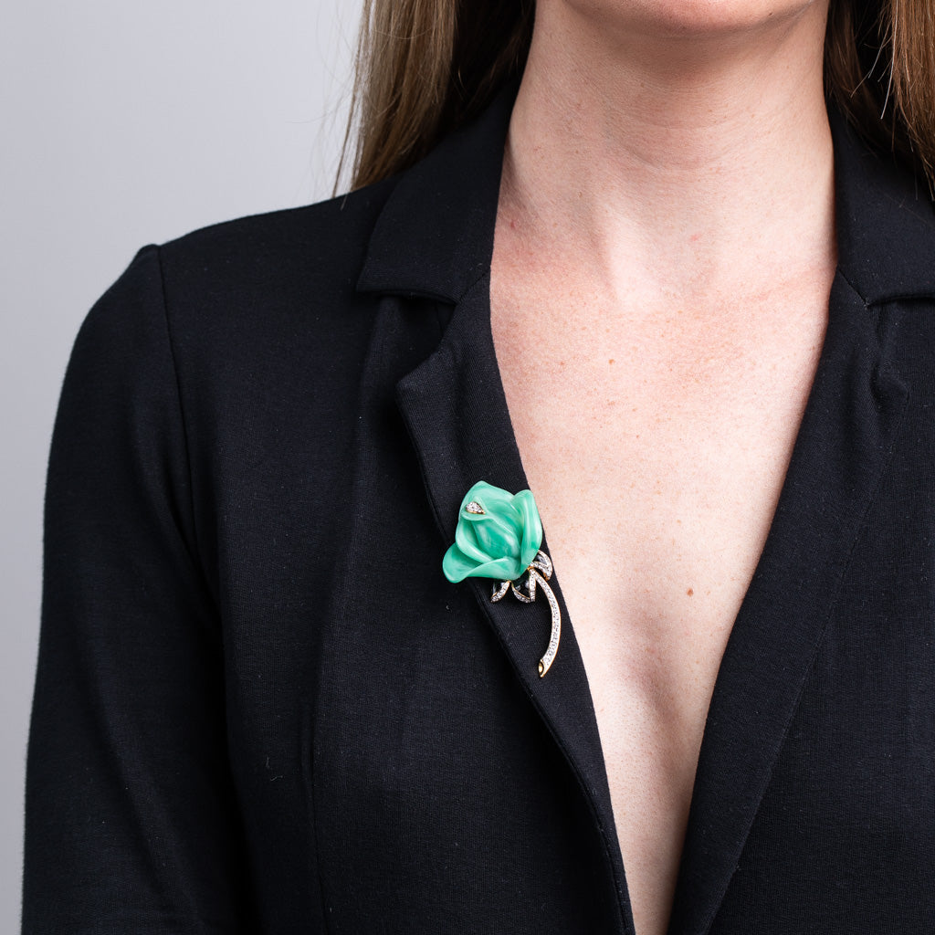 Jade Rose Pin with Rhinestone Stem Pin