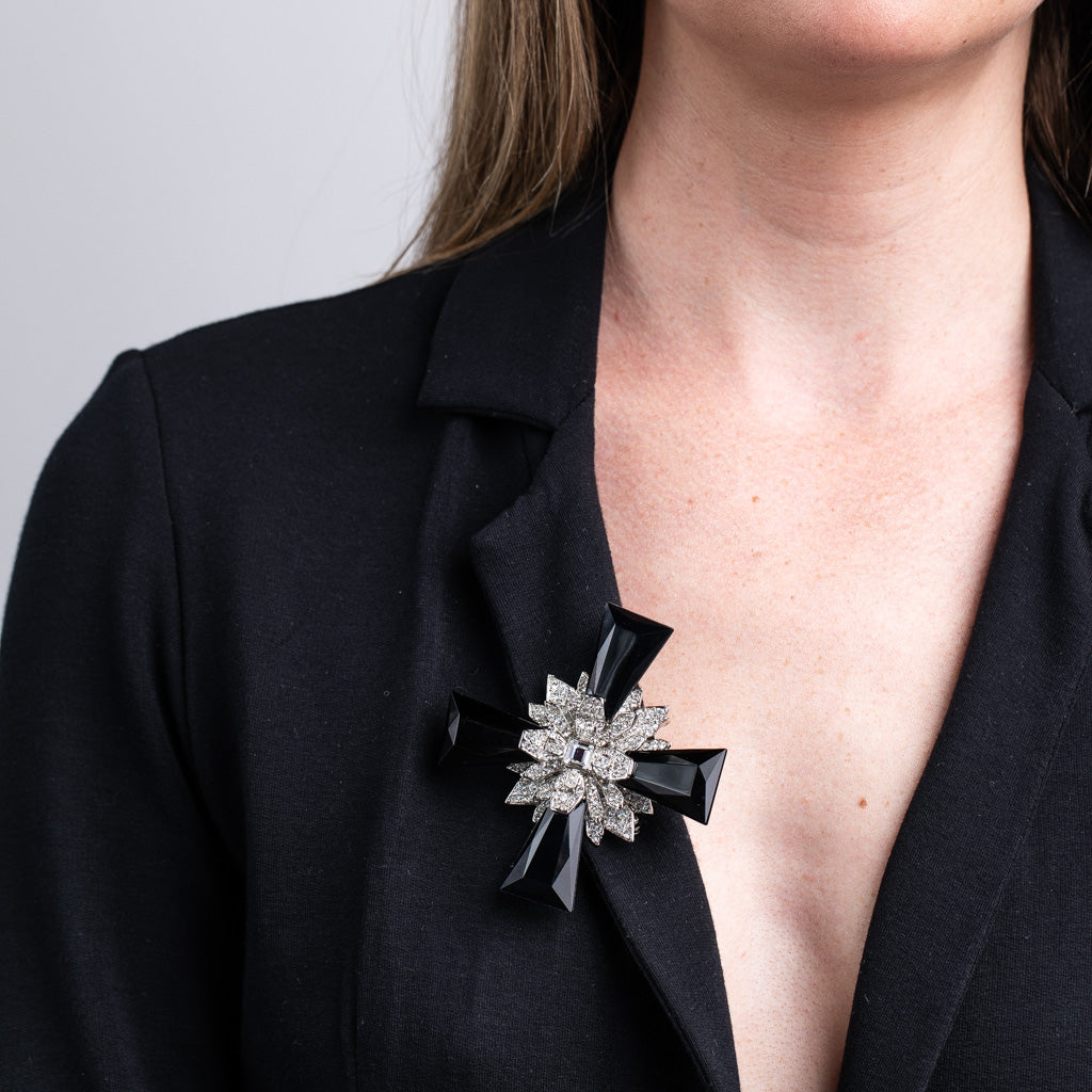 Silver and Crystal Jet Ends Maltese Cross Pin