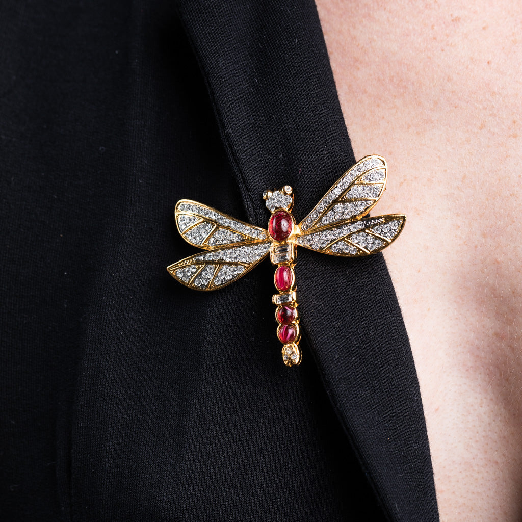 Gold and Rhinestone Flawed Ruby Cabochon Dragonfly Pin