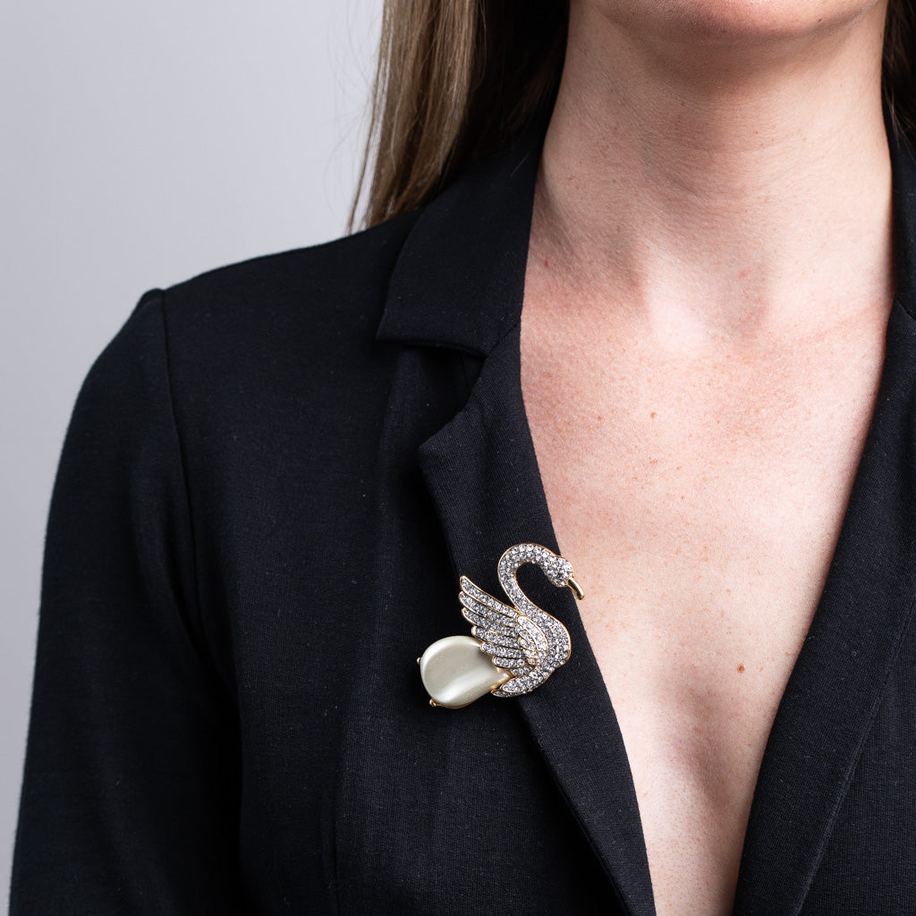 Rhinestone and Pearl Swan Pin