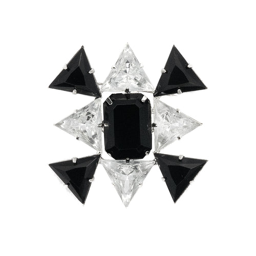 Crystal And Jet Triangle Pin