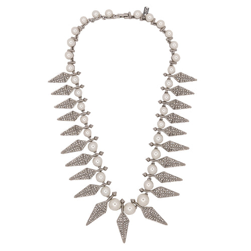 Silver & Crystal Spike Necklace