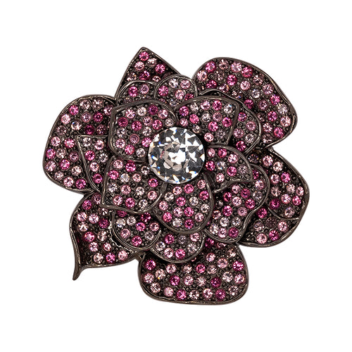 Gunmetal & Pink Crystal Flower Pin