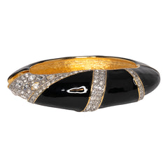 Two Toned Black Enamel Hinged Bangle